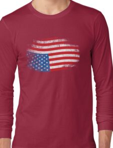 Upside Down American Flag US in Distress T-Shirt Long Sleeve T-Shirt