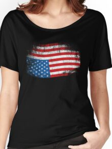 Upside Down American Flag US in Distress T-Shirt Women's Relaxed Fit T-Shirt