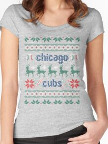 Christmas Chicago Cubs Women's Fitted Scoop T-Shirt
