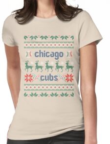 Christmas Chicago Cubs Womens Fitted T-Shirt