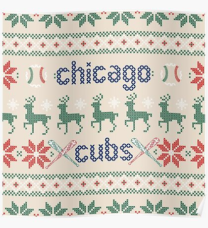 Christmas Chicago Cubs Poster