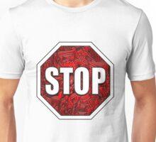 STOP Sign Octagon Bold Beveled Artistic Zen Doodle RED WHITE Unisex T-Shirt