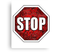 STOP Sign Octagon Bold Beveled Artistic Zen Doodle RED WHITE Canvas Print