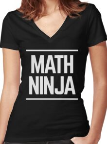 Math Ninja Math Geek Women's Fitted V-Neck T-Shirt