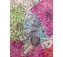 Geometric Abstract Watercolor and Line Drawing Photographic Print