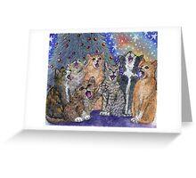 Cats singing Christmas Carols Greeting Card