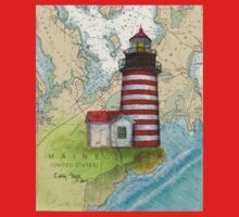 West Quoddy Lighthouse ME Chart Map Cathy Peek Kids Tee