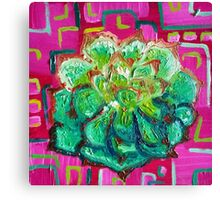 Magenta and Green - Contemporary Oil Painting - Succulent Canvas Print