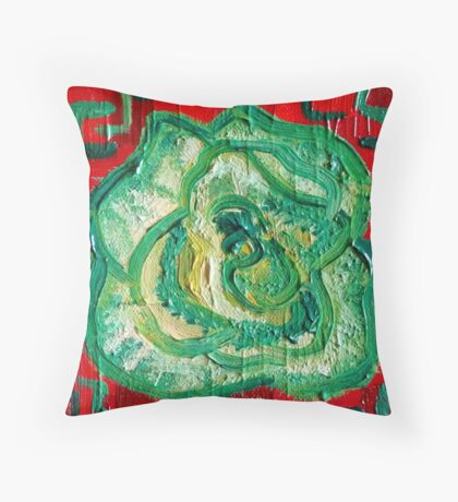 Red and Green - Contemporary Oil Painting - Decorative Kale Throw Pillow