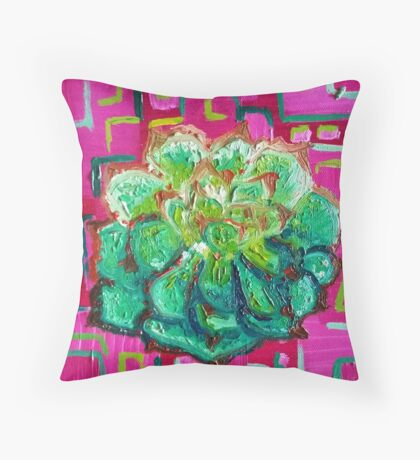 Magenta and Green - Contemporary Oil Painting - Succulent Throw Pillow