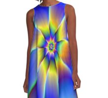 Nine Petals in Blue and Yellow A-Line Dress
