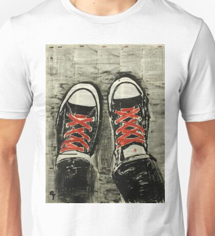 Red laces. Unisex T-Shirt