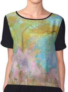 Abstract Landscape Painting Tree Flowers Chiffon Top