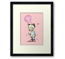 Zombie boy with Brain Balloon Framed Print