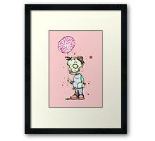 Zombie boy with Brain Balloon Framed Print