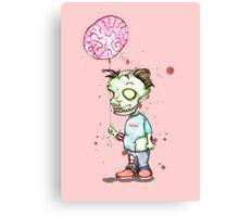Zombie boy with Brain Balloon Canvas Print