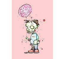 Zombie boy with Brain Balloon Photographic Print