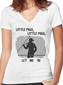 The Walking Dead Little Pigs Negan Women's Fitted V-Neck T-Shirt