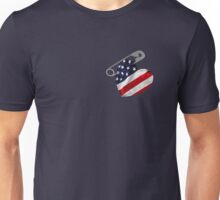 American Flag Safety Pin Unisex T-Shirt
