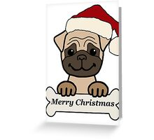 Pug in santa hat. merry christmas  Greeting Card