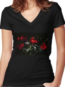 Four Red Roses Women's Fitted V-Neck T-Shirt