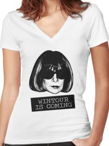Wintour Is Coming Women's Fitted V-Neck T-Shirt