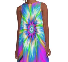 Exploding Palette of Blue and Pink A-Line Dress