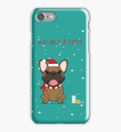 Frenchie Waiting for Santa - Fawn Edition iPhone Case/Skin