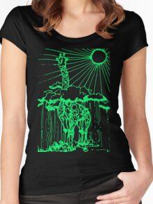 Sun shine giraffe green Women's Fitted Scoop T-Shirt
