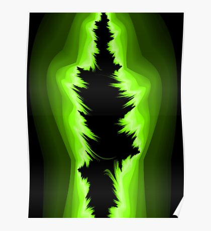 Green and black fractals Poster