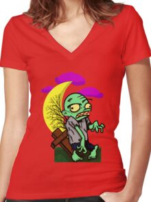 Cartoon Spooky Graveyard Zombie Women's Fitted V-Neck T-Shirt