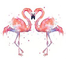 Flamingo Love Watercolor by OlechkaDesign