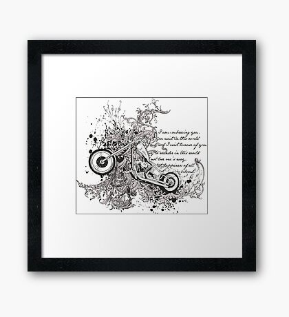 Flying Biker Stickers - Motorcycle T-shirts Framed Print