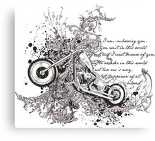 Flying Biker Stickers - Motorcycle T-shirts Canvas Print