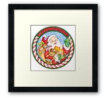 Merry Christmas Santa and Toys Framed Print