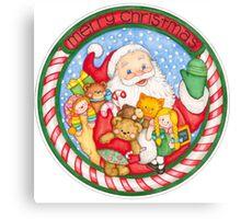 Merry Christmas Santa and Toys Canvas Print