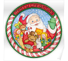 Merry Christmas Santa and Toys Poster