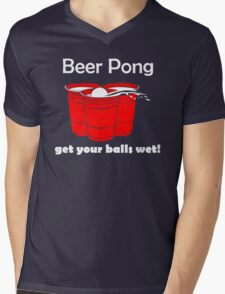 Beer Pong Get Your Balls Wet T-Shirt Funny Drinking Game TEE College Humor Cup Mens V-Neck T-Shirt
