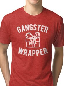 Gangster Wrapper Funny Christmas Tri-blend T-Shirt