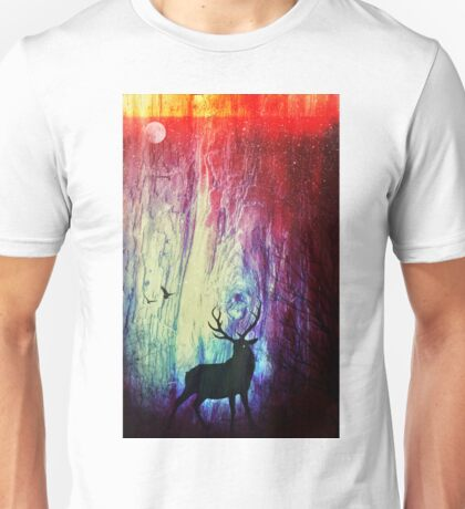 Mystical Space Forest: Majestic Stag Unisex T-Shirt