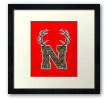 Nebraska Hunting Club Big Deer Rack Camouflage Pride Framed Print