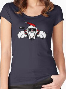 Santa Claus on Motorcycle Women's Fitted Scoop T-Shirt