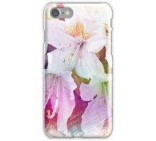Beautiful color pencil sketch white azalea flowers. floral photo art. iPhone Case/Skin