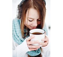 Beautiful woman drinking hot drink in winter park Photographic Print