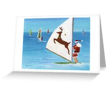 Wind Sailing Santa Greeting Card
