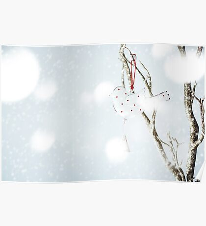 Christmas decoration with vintage bird on a silver branch Poster
