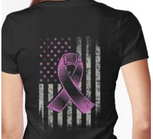 Breast Cancer Awareness Ribbon American Flag T-Shirt Womens Fitted T-Shirt