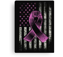 Breast Cancer Awareness Ribbon American Flag T-Shirt Canvas Print
