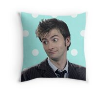 Tenth Doctor (with polka dots) Throw Pillow