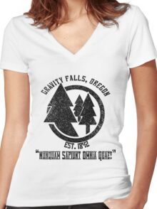 Gravity Falls Town Emblem & Motto Women's Fitted V-Neck T-Shirt